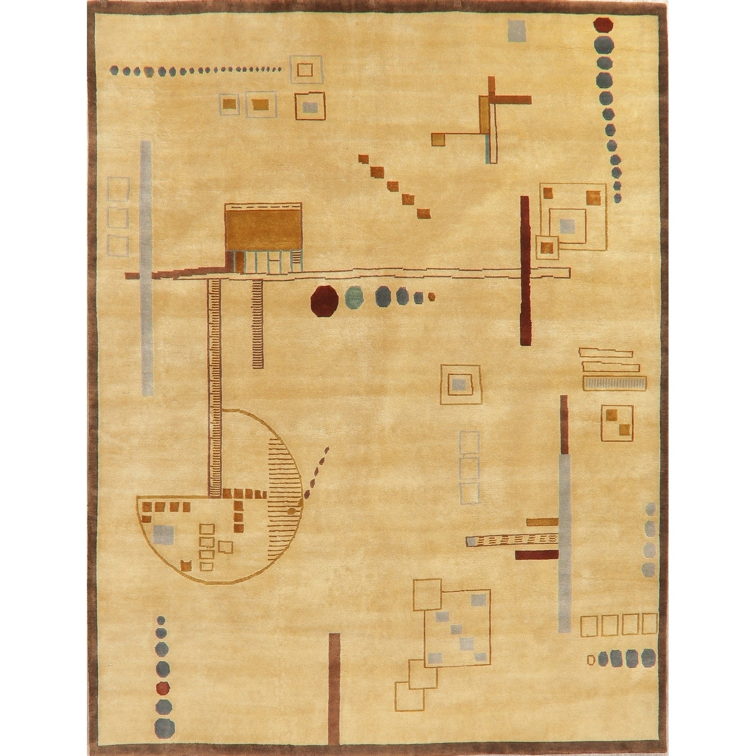 Nepal Graphic Oriental Hand Knotted Muted Wool Indian Area Rug 9 10 X 7 10