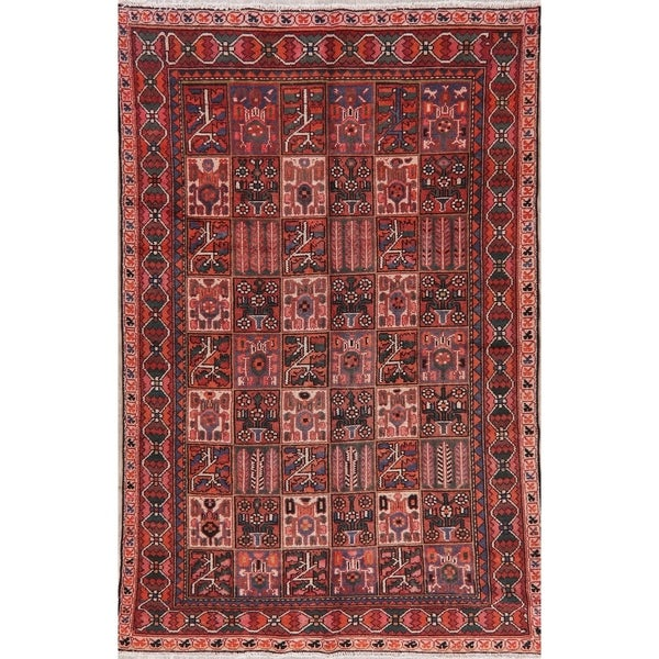 """Bakhtiari Patchwork Oriental Hand-Knotted Wool Persian Area Rug - 9'3"""" x 6'3"""""""