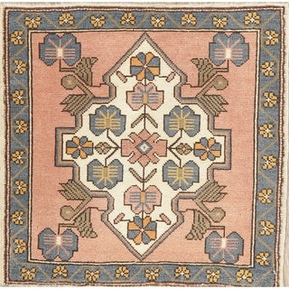"""Oushak Oriental Hand Knotted Wool Traditional Turkish Area Rug - 2'2"""" x 1'11"""" Square"""