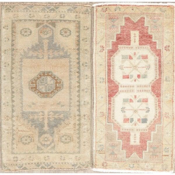 "Set of 2 Oushak Oriental Vintage Hand Knotted Wool Turkish Area Rug - 2'11"" x 1'7"""