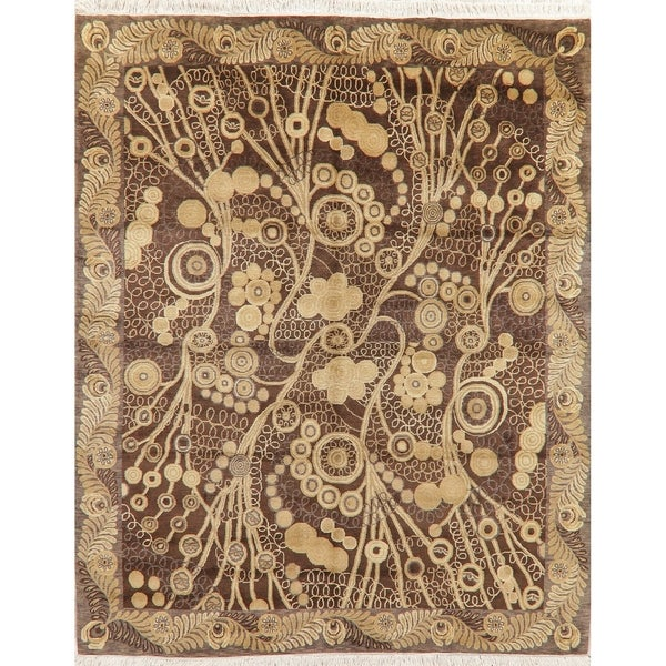 """Art & Craft Oriental Hand Knotted Wool Indian Traditional Area Rug - 9'9"""" x 7'11"""""""