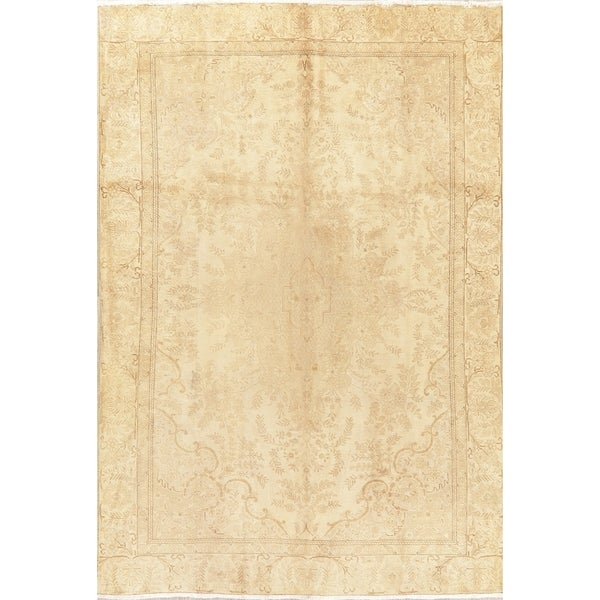 "Oriental Medallion Hand-Knotted Faded Distressed Persian Area Rug - 10'10"" x 7'4"""