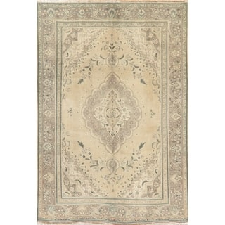 "Oriental Medallion Hand-Knotted Faded Distressed Persian Area Rug - 9'2"" x 6'4"""