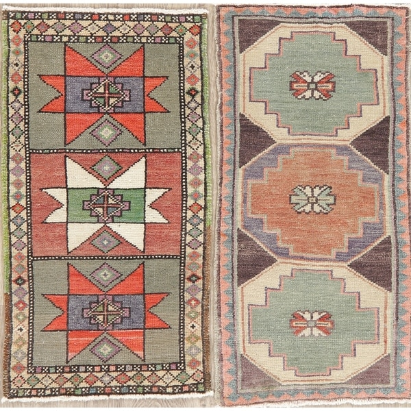 "Set of 2 Oushak Oriental Geometric Hand Knotted Wool Turkish Area Rug - 2'11"" x 1'6"""