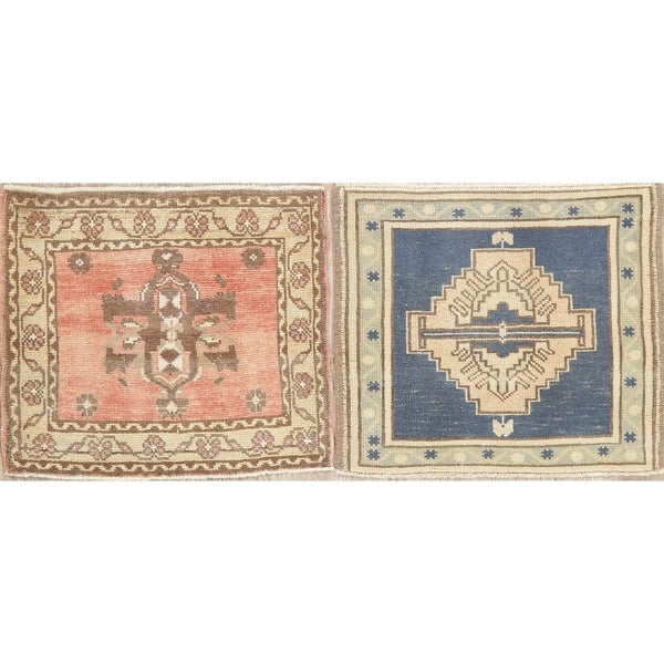 "Set of 2 Oushak Oriental Hand Knotted Vintage Traditional Turkish Rug - 2'0"" x 1'9"" Square"