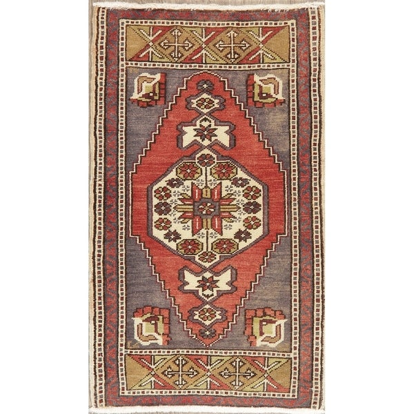 """Oushak Traditional Oriental Hand Knotted Wool Turkish Area Rug - 3'0"""" x 1'10"""""""
