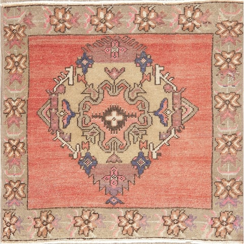 """Oushak Vintage Oriental Border Tribal Hand Knotted Wool Turkish Rug - 2'4"""" x 2'3"""" Square"""