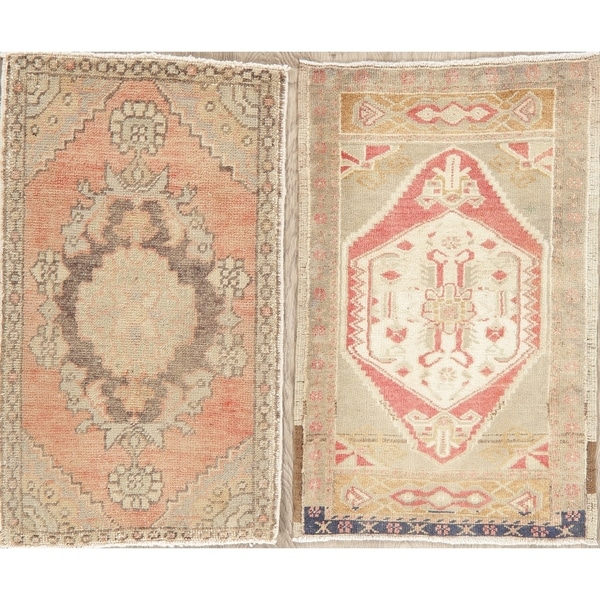 """Set of 2 Oushak Oriental Hand Knotted Turkish Traditional Area Rug - 2'10"""" x 1'10"""""""