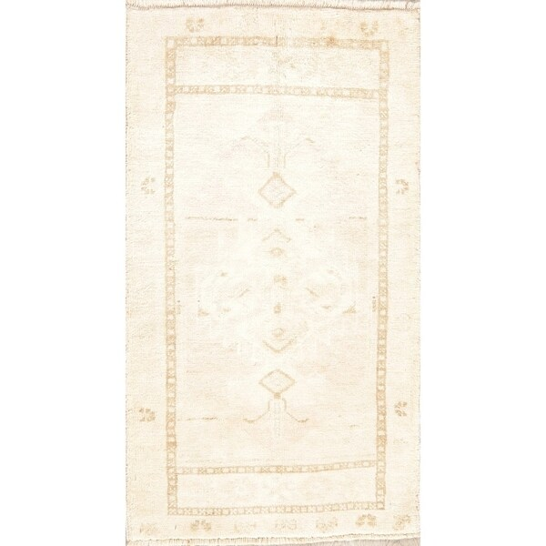 """Oushak Oriental Vintage Hand Knotted Traditional Wool Turkish Area Rug - 3'2"""" x 1'10"""""""