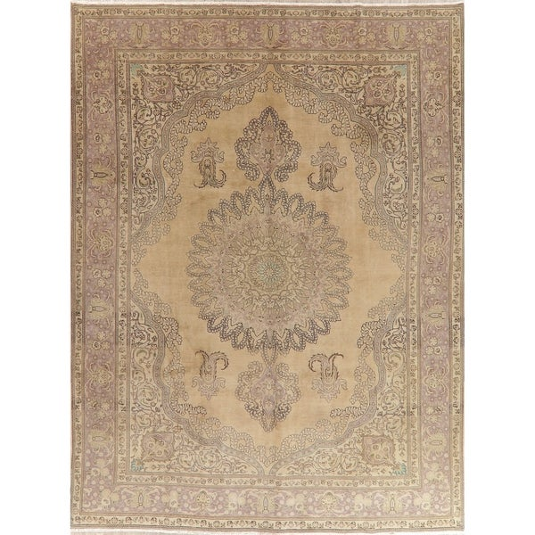"""Oriental Medallion Muted Distressed Hand Knotted Persian Area Rug - 12'11"""" x 9'8"""""""