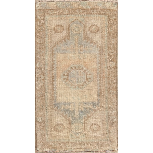 """Vintage Oushak Oriental Muted Distressed Hand Knotted Turkish Area Rug - 2'10"""" x 1'7"""""""