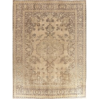 """Oriental Hand Knotted Muted Distressed Traditional Persian Area Rug - 12'10"""" x 9'6"""""""