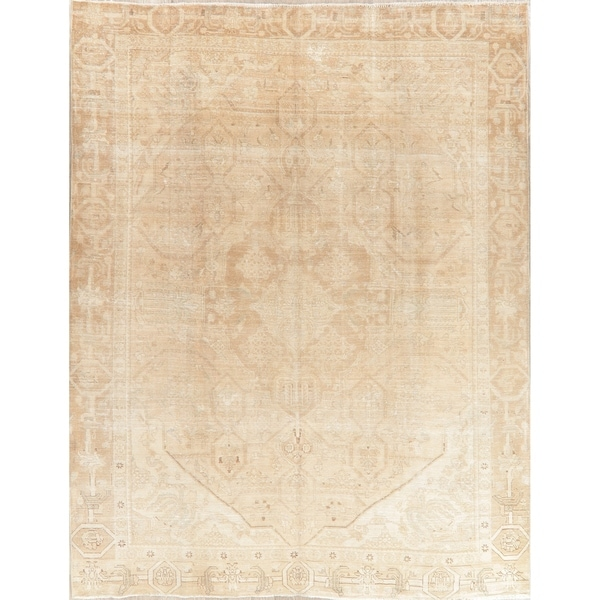 """Oriental Medallion Hand Knotted Muted Distressed Persian Area Rug - 12'0"""" x 9'1"""""""