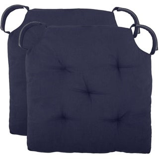 """Polyfill Fiber Chair Pads w/5 Velcro Tucks (Set of 02) 18""""x18"""" Square Chair Pad Extra-Comfortable & Soft Chair Cushion Pad,Navy"""