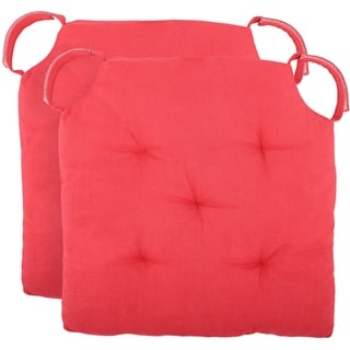"""Polyfill Fiber Chair Pads w/5 Velcro Tucks (Set of 02) 18""""x18"""" Square Chair Pad Extra-Comfortable & Soft Chair Cushion Pad,Red"""