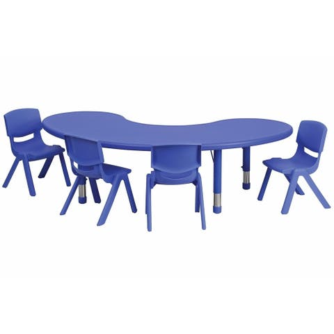 Offex 35''W x 65''L Adjustable Half-Moon Blue Plastic Activity Table Set with 4 School Stack Chair