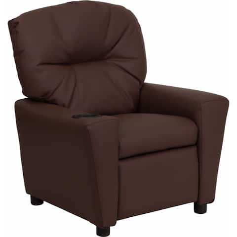 Offex Contemporary Brown Leather Kids Recliner with Cup Holder