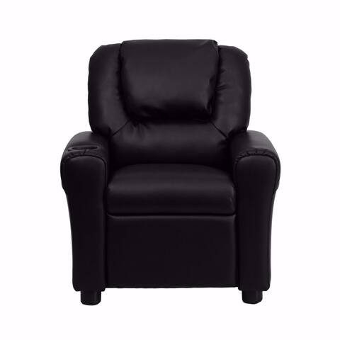 Offex Contemporary Black Leather Kids Recliner with Cup Holder and Headrest