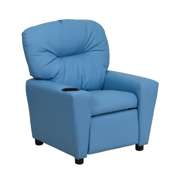 Offex Contemporary Light Blue Vinyl Kids Recliner with Cup Holder