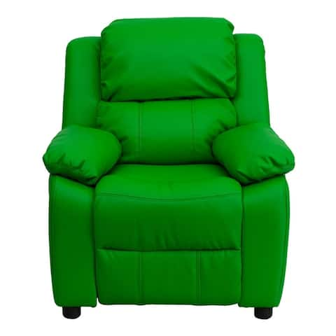 Offex Deluxe Heavily Padded Contemporary Green Vinyl Kids Recliner with Storage Arms