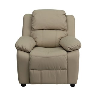 Offex Deluxe Heavily Padded Contemporary Beige Vinyl Kids Recliner with Storage Arms