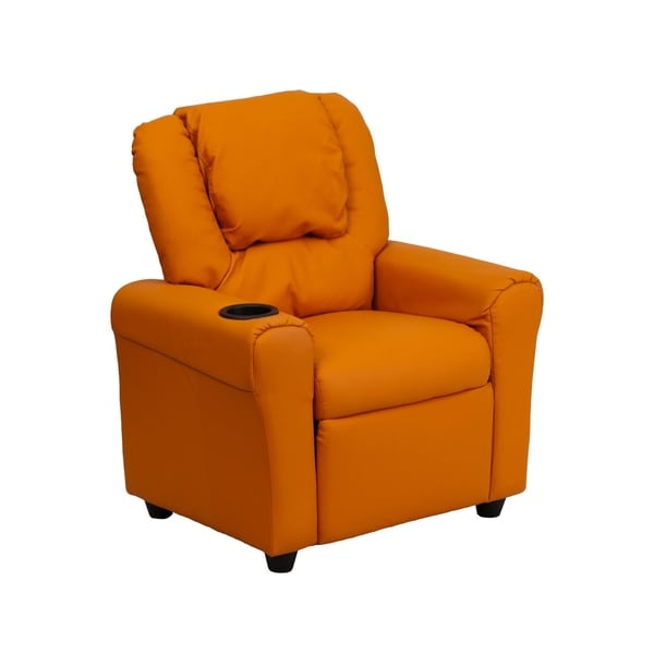 Offex Contemporary Orange Vinyl Kids Recliner with Cup Holder and Headrest