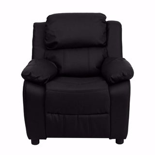 Offex Deluxe Heavily Padded Contemporary Black Leather Kids Recliner with Storage Arms