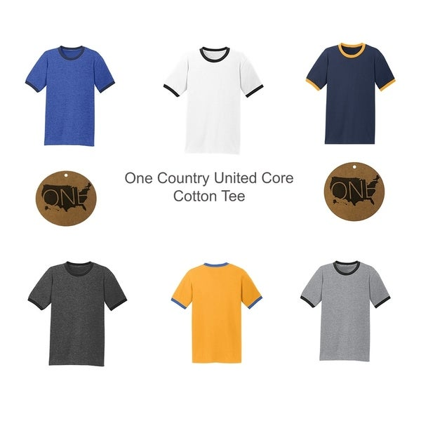 One Country United Mens Cotton Core Ringer Tee