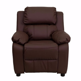 Offex Deluxe Heavily Padded Contemporary Brown Leather Kids Recliner with Storage Arms