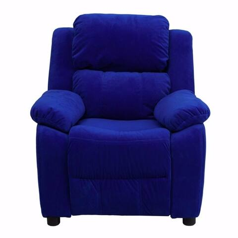 Offex Deluxe Heavily Padded Contemporary Blue Microfiber Kids Recliner with Storage Arms