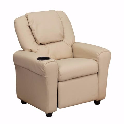 Offex Contemporary Beige Vinyl Kids Recliner with Cup Holder and Headrest