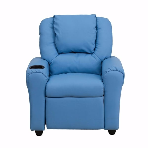 Offex Contemporary Light Blue Vinyl Kids Recliner with Cup Holder and Headrest