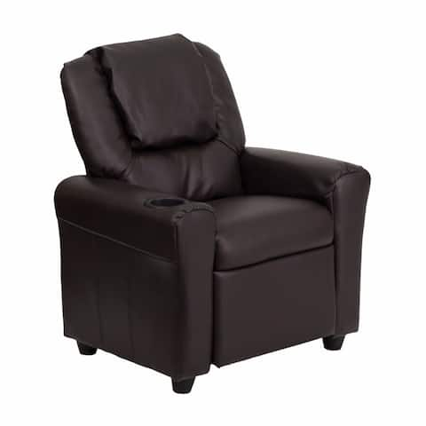 Offex Contemporary Brown Leather Kids Recliner with Cup Holder and Headrest