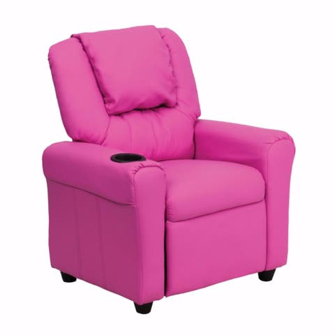 Offex Contemporary Hot Pink Vinyl Kids Recliner with Cup Holder and Headrest