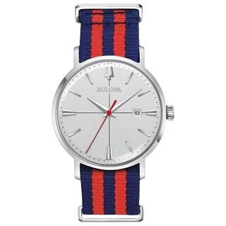 Bulova Mens 96B314 Aerojet Stainless Red/ Blue NATO Nylon Strap Watch - N/A