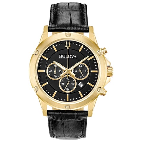 0bc05c1d2 Bulova Men's 97B179 Goldtone Stainless Chrono Black Leather Strap Watch -  N/A - N