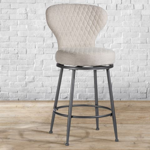 Melange Upholstered Swivel Counter Height Stool