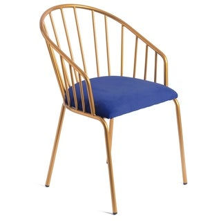 Link to Modern Blue Velvet Fabric Upholstered Accent Arm Chair with Gold Metal Legs Similar Items in Accent Chairs