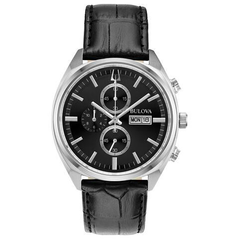 Bulova Men's 96C133 Surveyor Stainless Chrono Black Leather Strap Watch - N/A