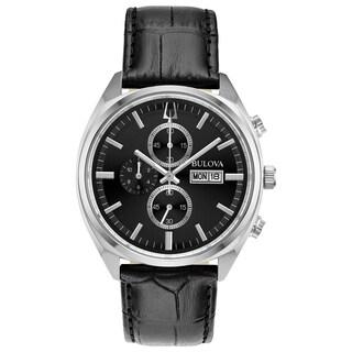 Bulova Men's 96C133 Surveyor Stainless Chrono Black Leather Strap Watch