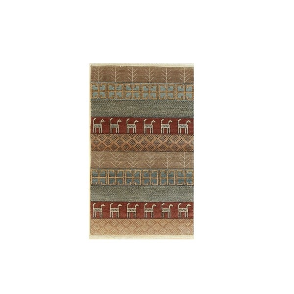 Rust/brown Hand-knotted Wool Traditional Oriental Camels Rug - 3' 1 x 5' 1