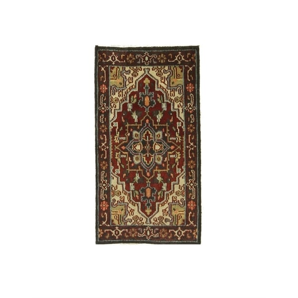 Red/navy Hand-knotted Wool Traditional Oriental Heriz Rug - 2' 2 x 4'