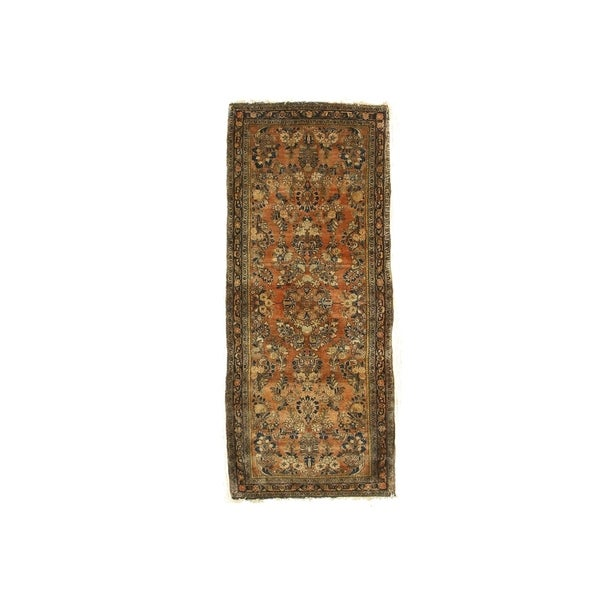 Orange/navy Hand-knotted Wool Traditional Oriental Sarouk Rug - 2' 8 x 6' 6. Opens flyout.