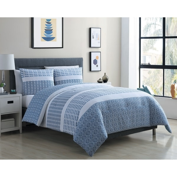 Shop Vcny Home Pure Blue And White Stripe Cotton Comforter