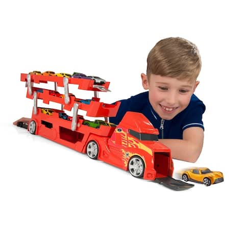 Speedsterz 37 Car Transporter/Car Hauler Play Set with Launcher - Includes 10 Realistic Die Cast Cars