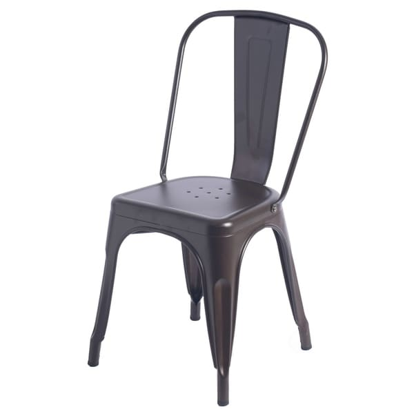 Carbon Loft Ruiz Industrial Metal Dining Bistro Chair with Back