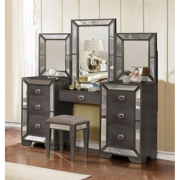 Best Quality Furniture 3-Piece Victoria Bedroom Set w/ Extra Nightstand and  Vanity Set