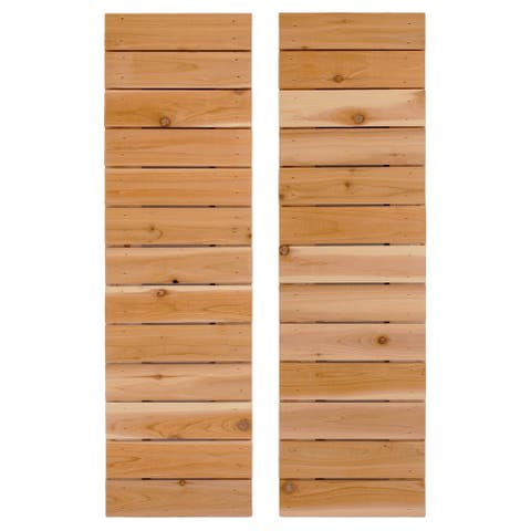 Horizontal Slat Board & Batten Exterior Shutters Pair