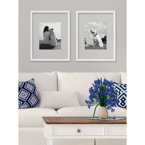 DesignOvation Gallery 14x18 Float Glass Picture Frame, Set of 2