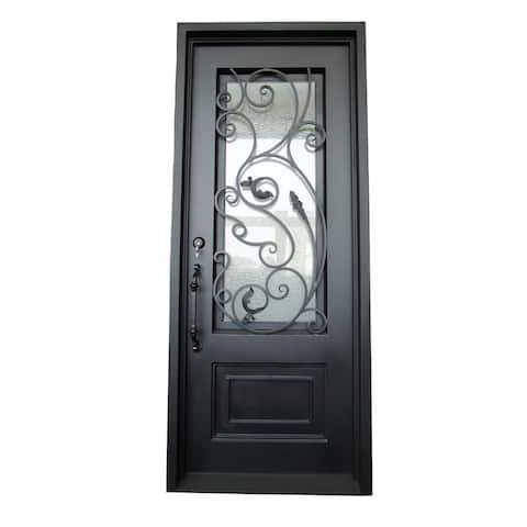 ALEKO Iron Vine Design Single Door with Square Top 96 x 40 X 6 inches Matte Black